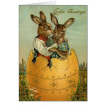 Vintage Easter, Victorian Bunnies in Egg Cards