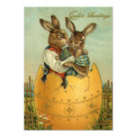 "Vintage Easter, Victorian Bunnies in Egg 5"" X 7"" Invitation Card"