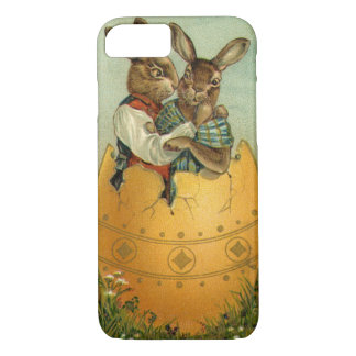 Vintage Easter, Victorian Bunnies in Egg iPhone 7 Case