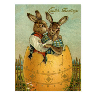 Vintage Easter, Victorian Bunnies in Egg Postcard