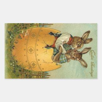 Vintage Easter, Victorian Bunnies in Egg Rectangular Sticker