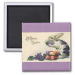Vintage Easter, Victorian Bunny with Eggs 2 Inch Square Magnet