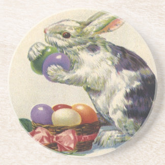 Vintage Easter, Victorian Bunny with Eggs Drink Coasters