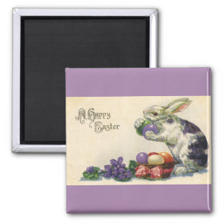 Vintage Easter, Victorian Bunny with Eggs Fridge Magnets