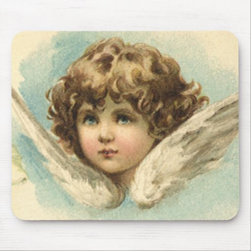 Vintage Easter, Victorian Cherub with Lily Flowers Mouse Pad