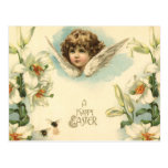 Vintage Easter, Victorian Cherub with Lily Flowers Postcard