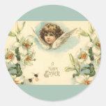 Vintage Easter, Victorian Cherub with Lily Flowers Round Sticker
