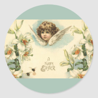 Vintage Easter, Victorian Cherub with Lily Flowers Classic Round Sticker