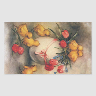 Vintage Easter, Victorian Chicks and Tulips Rectangle Sticker