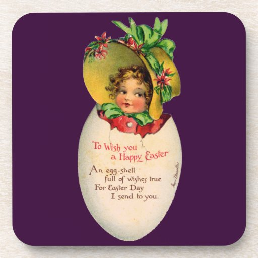 Vintage Easter, Victorian Child in an Egg Coaster