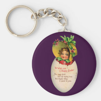 Vintage Easter, Victorian Child in an Egg Keychain