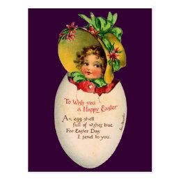 Vintage Easter, Victorian Child in an Egg Postcard