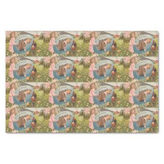 "Vintage Easter Victorian Girl & Boy 10"" X 15"" Tissue Paper"