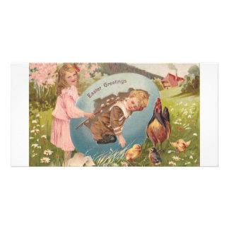 Vintage Easter Victorian Girl & Boy Card