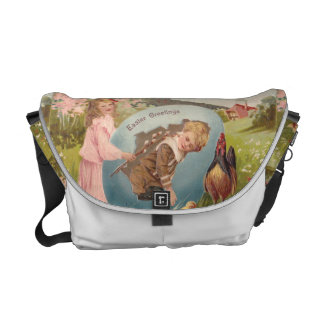 Vintage Easter Victorian Girl & Boy Courier Bags