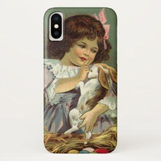 Vintage Easter, Victorian Girl Bunny Rabbit Eggs iPhone X Case