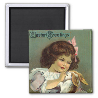 Vintage Easter, Victorian Girl Bunny Rabbit Eggs Magnet