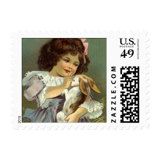 Vintage Easter, Victorian Girl Bunny Rabbit Eggs Stamp