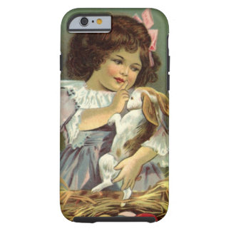 Vintage Easter, Victorian Girl Bunny Rabbit Eggs Tough iPhone 6 Case