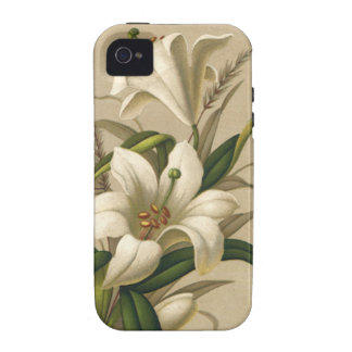 Vintage Easter, Victorian Lily Flowers in Bloom Case-Mate iPhone 4 Covers