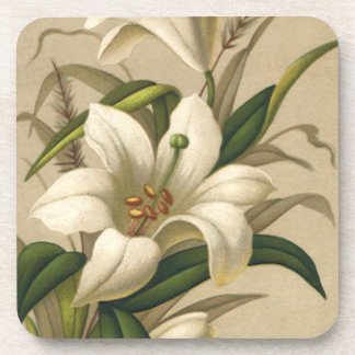 Vintage Easter, Victorian Lily Flowers in Bloom Coasters