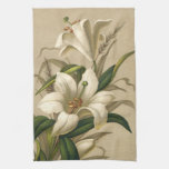 Vintage Easter, Victorian Lily Flowers in Bloom Kitchen Towels