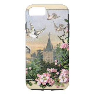 Vintage Easter, White Dove Birds and Flowers iPhone 7 Case