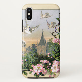 Vintage Easter, White Dove Birds and Flowers iPhone X Case
