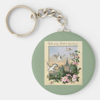 Vintage Easter, White Dove Birds and Flowers Keychain