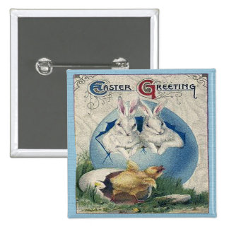 Vintage Easter White Rabbits and Chick Button