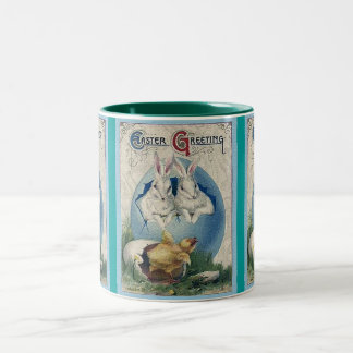 Vintage Easter White Rabbits and Chick Coffee Mugs