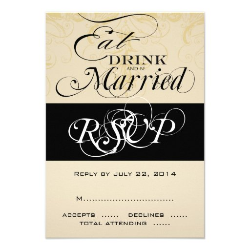Vintage Eat, Drink, and Be Married RSVP Cards Custom Announcement