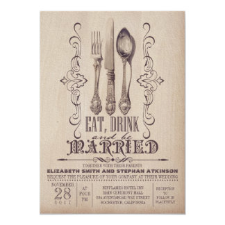 Vintage EAT DRINK AND BE MARRIED Wedding 5x7 Paper Invitation Card