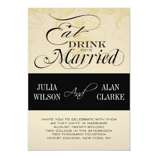 Vintage Eat, Drink and Be Married Wedding Invite   Zazzle
