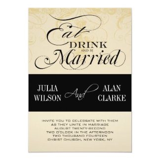 """Vintage Eat, Drink and Be Married Wedding Invite 5"""" X 7"""" Invitation Card"""