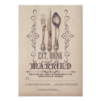Vintage EAT DRINK AND BE MARRIED Wedding RSVP card