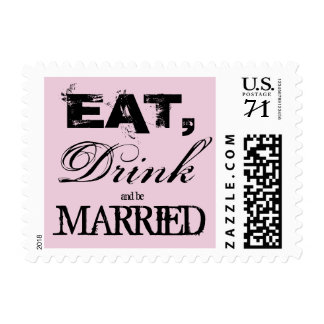 Vintage eat drink and be married wedding stamps