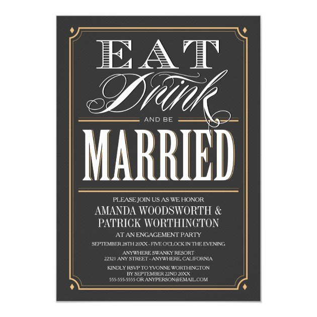 Vintage Eat Drink & Be Married Engagement Party Card