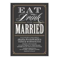 Vintage Eat Drink &amp; Be Married Wedding Invitations (<em>$2.05</em>)