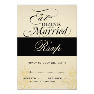Vintage Eat, Drink, Be Married Wedding RSVP Cards