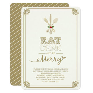 Vintage Eat Drink & Be Merry Holiday Party Invite