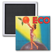 Vintage Eco Orange Label Magnet