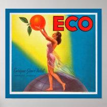 Vintage Eco Orange Label Poster