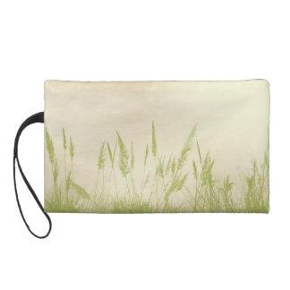 Vintage ECO wheat grass on cream Wristlet Purses