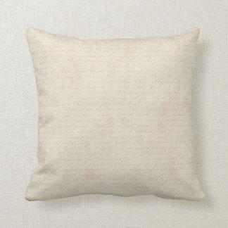 Vintage Ecru Script Letter Writing Beige Off White Pillow