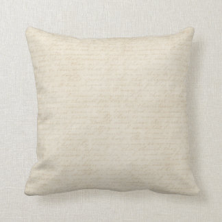 off white throw pillow. vintage ecru script letter writing beige off white throw pillow