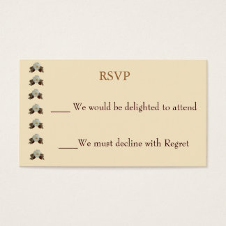 Vintage Ecru Wedding RSVP Business Card