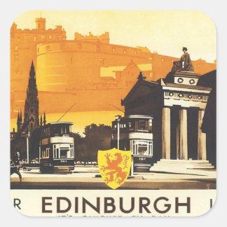 Vintage Edimburgo LNER Pegatina Cuadrada