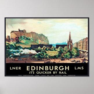 Vintage Edinburgh Scotland Travel Poster