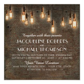 Vintage Edison Lights Industrial Warehouse Brick Invitation